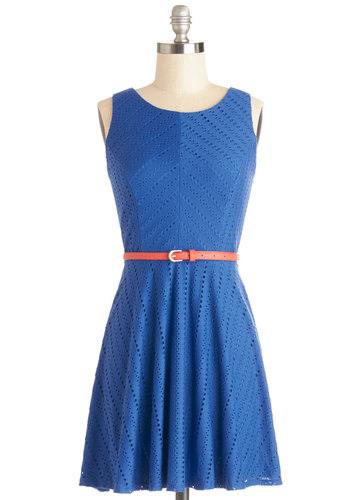 Cobalt I Ever Wanted Dress - Blue, Solid, Belted, Casual, A-line, Sleeveless, Good, Knit, Exposed zipper, Scoop