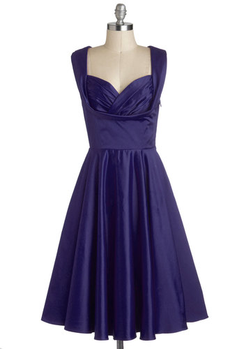 Aisle Be There Dress in Navy - Blue, Solid, Special Occasion, Prom, Wedding, Cocktail, Bridesmaid, Pinup, Vintage Inspired, 50s, Fit & Flare, Sleeveless, Variation, Sweetheart, Long, Satin, Woven, Pockets