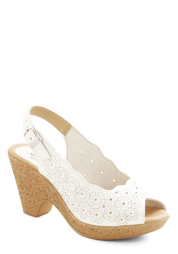 Way of Sunshine Heel - Mid, Leather, White, Solid, Eyelet, Wedding, Daytime Party, Graduation, Spring, Summer, Better, Slingback