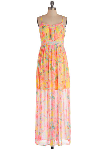 Glam Cayman Islands Dress - Multi, Floral, Pleats, Trim, Daytime Party, Neon, Maxi, Spaghetti Straps, Better, Chiffon, Woven, Long, Beach/Resort, Spring, Summer