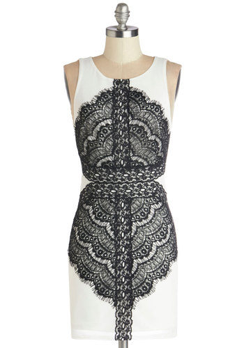 Crossing Your Mind Dress - Black, White, Lace, Party, Shift, Sleeveless, Better, Scoop, Knit, Lace, Short, Backless