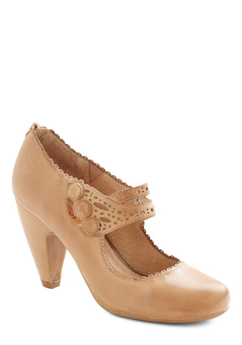 Dance the Day Away Heel in Tan by Miz Mooz - Mid, Leather, Tan, Solid, Buttons, Cutout, Scallops, Party, Vintage Inspired, 20s, 30s, Best, Work, Variation