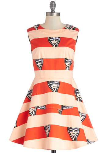 Walk of Fame Dress - Tan / Cream, Novelty Print, Casual, A-line, Better, Woven, Short, Orange, Stripes, Quirky, Sleeveless, Crew, Statement