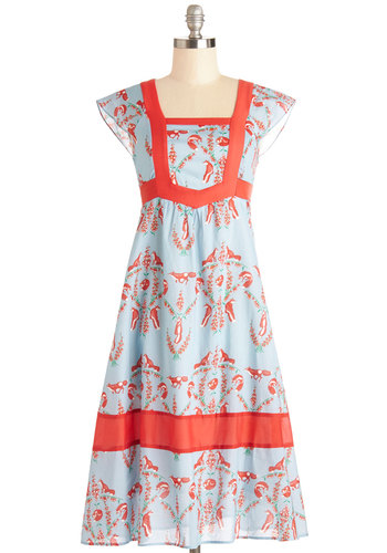 Fontaine Your Excitement Dress - Blue, Red, Print with Animals, Trim, Casual, Vintage Inspired, 70s, Critters, A-line, Cap Sleeves, Better, Cotton, Long, International Designer, Spring, Summer, Woodland Creature, Festival, Boho