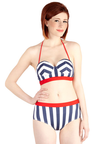 Heart to Harbor Swimsuit Top - Knit, Multi, Red, Blue, White, Stripes, Beach/Resort, Nautical, Vintage Inspired, 40s, 50s, Halter, Summer, Exclusives