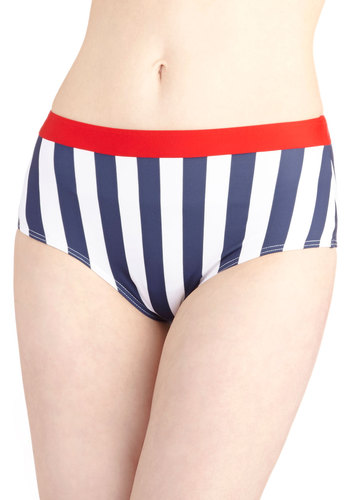 Heart to Harbor Swimsuit Bottom - Knit, Multi, Red, Blue, White, Stripes, Beach/Resort, Nautical, Vintage Inspired, 40s, 50s, Summer, Exclusives
