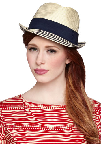 View and Me Hat - Cream, Stripes, Daytime Party, Beach/Resort, Good, Blue, Solid, Nautical, Summer, Blue
