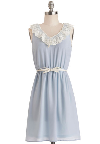 Open Skies Dress - Blue, Solid, Belted, Casual, A-line, Sleeveless, Good, V Neck, Woven, Short, Lace, Pastel