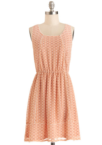 Daisy Sunday Morning Dress - Orange, White, Floral, Trim, Casual, A-line, Sleeveless, Good, Scoop, Mid-length, Chiffon, Woven, Pastel