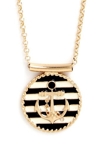 Maritime Morning Necklace - Blue, White, Stripes, Nautical, Gold, Good, Novelty Print