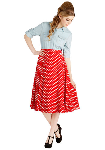 Picnic Takes Two Skirt - High Waist, Red, Red, Polka Dots, Pockets, Work, Casual, Rockabilly, Vintage Inspired, 50s, A-line, Americana, Spring, Summer, Winter, Good, WPI, Long