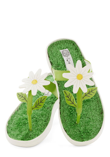 First Flower Box Sandal by Jeffrey Campbell - Low, Green, Flower, Beach/Resort, Summer, Best, Yellow, White, Casual, Spring, Statement