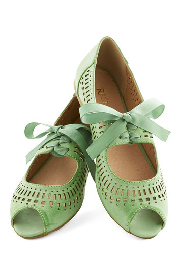 Ann Arbor Afternoon Flat in Mint by Restricted - Flat, Faux Leather, Mint, Solid, Cutout, Wedding, Bridesmaid, Vintage Inspired, 20s, 30s, Darling, Spring, Summer, Better, Peep Toe, Variation, Daytime Party, Lace Up, Green