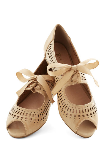 Ann Arbor Afternoon Flat in Tan by Restricted - Flat, Faux Leather, Tan, Solid, Bows, Cutout, Wedding, Bridesmaid, Bride, Vintage Inspired, 20s, 30s, Darling, Better, Peep Toe, Variation, Daytime Party, Lace Up