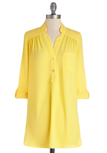 Pam Breeze-ly Tunic in Yellow - Yellow, Solid, Buttons, Pockets, Casual, Long Sleeve, 3/4 Sleeve, Sheer, Best Seller, Button Down, V Neck, Variation, Beach/Resort, Basic, Spring, Tab Sleeve, Yellow, Woven, Cover-up, Long, Maternity, Work