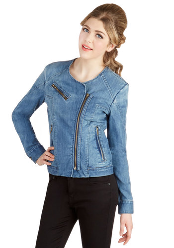 Casual Coordination Jacket - Denim, Woven, Short, Good, Blue, 1, Blue, Solid, Exposed zipper, Pockets, Urban, Long Sleeve, Festival