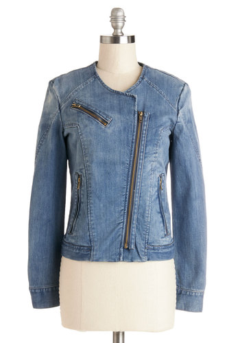 Casual Coordination Jacket - Denim, Woven, Short, Good, Blue, Blue, Solid, Exposed zipper, Pockets, Urban, Long Sleeve, Festival, 1