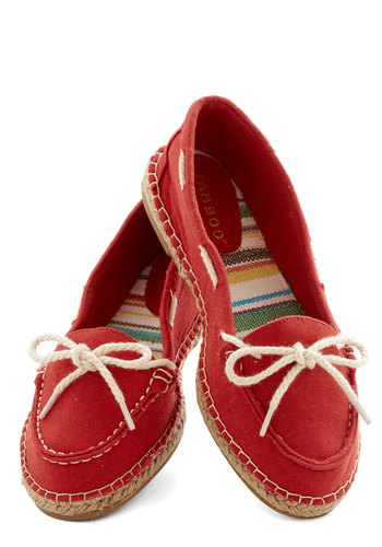 All About Annapolis Flat in Red - Flat, Woven, Red, Tan / Cream, Solid, Bows, Nautical, Menswear Inspired, Spring, Summer, Good, Espadrille, Variation, Braided