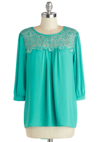 Tell Me Everything Top - Mid-length, Green, Solid, Work, 3/4 Sleeve, Spring, Good, Green, 3/4 Sleeve, Chiffon, Sheer, Woven, Crochet, Casual