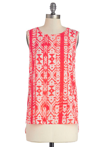 Worldly Travels Top - Mid-length, Print, High-Low Hem, Sleeveless, Spring, Summer, Good, Red, Sleeveless, Chiffon, Woven, Red, Tan / Cream, Scoop