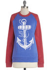 Up and Comer Sweatshirt by Kin Ship - Blue, Long Sleeve, Mid-length, Blue, Red, Novelty Print, Casual, Nautical, Long Sleeve, Crew