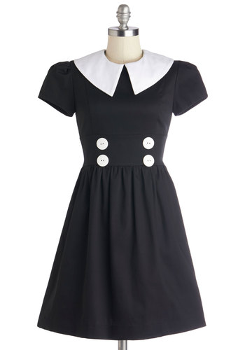 Teach and Every Day Dress - Mid-length, Woven, Black, Buttons, Casual, A-line, Short Sleeves, Better, White, Scholastic/Collegiate
