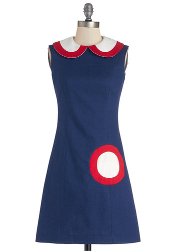 Sure Hits the Spot Dress - Mid-length, Woven, Blue, Red, White, Peter Pan Collar, Party, Vintage Inspired, 60s, Shift, Sleeveless, Better, Collared, Pockets, Mod