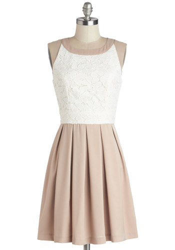 Latte Artiste Dress - Tan / Cream, Lace, Pleats, A-line, Better, Sleeveless, Mid-length, Daytime Party