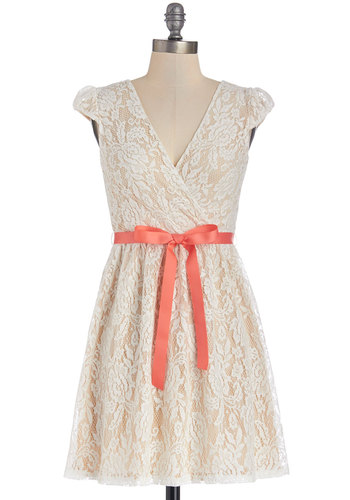 Graceful at the Gallery Dress - Cream, Lace, Belted, Wedding, A-line, Cap Sleeves, Good, V Neck, Knit, Lace, Short, Bridesmaid