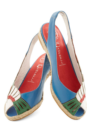 Frond Here to There Flat by Jeffrey Campbell - Low, Leather, Cutout, Daytime Party, Spring, Summer, Best, Espadrille, Peep Toe, Slingback, Multi, Quirky