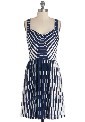 Which Way to the Bay? Dress - Knit, Mid-length, Blue, White, Print, Casual, A-line, Sleeveless, Good, Sweetheart