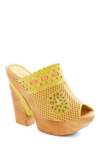 Bright and Boho Heel - High, Faux Leather, Yellow, Solid, Flower, Daytime Party, Beach/Resort, Good, Wedge, Espadrille, Cutout, 70s, Festival