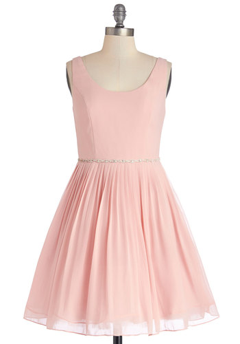 Sage a Dance Dress in Blush - Mid-length, Chiffon, Woven, Pink, Solid, Rhinestones, Special Occasion, Prom, Wedding, Bridesmaid, Ballerina / Tutu, Tank top (2 thick straps), Better, Scoop, Pleats, Fairytale, Pastel, Fit & Flare