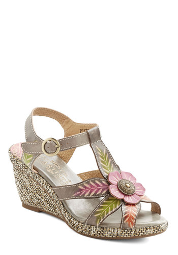 Cottage Wedding Wedge - Mid, Leather, Grey, Multi, Solid, Floral, Cutout, Flower, Daytime Party, Better, Platform, Wedge, Statement