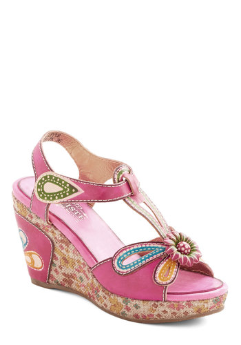 Socialite On Your Feet Wedge - Mid, Leather, Pink, Multi, Solid, Floral, Cutout, Flower, Daytime Party, Spring, Summer, Better, Platform, Wedge, T-Strap, Statement, Fruits