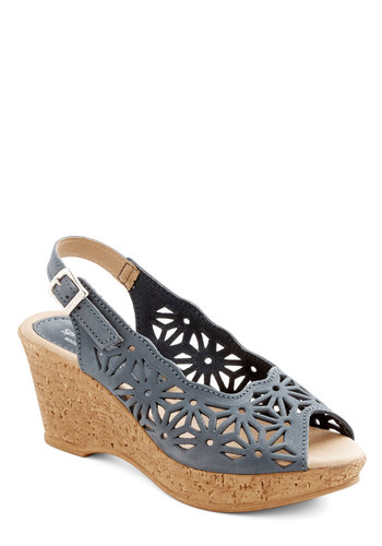 Savannah Scene Wedge - Mid, Leather, Blue, Solid, Cutout, Daytime Party, Spring, Better, Platform, Wedge, Peep Toe, Slingback, Festival, Boho