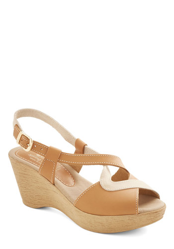 Market Roastery Wedge - Mid, Leather, Tan, Solid, Cutout, Casual, Spring, Summer, Better, Platform, Wedge, Peep Toe