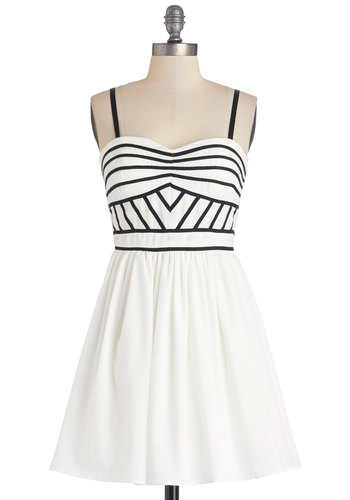 Terrace Toast Dress - Short, Chiffon, Woven, White, Black, Trim, Party, A-line, Strapless, Better, Sweetheart, Exclusives, Summer