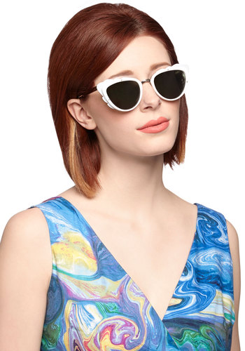 The Head and the Art Sunglasses in White - White, Solid, Better, Variation, Spring, Summer, White, Quirky, Nifty Nerd, Social Placements