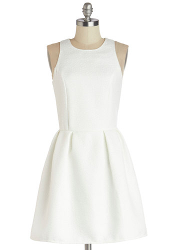 Enliven the Evening Dress by Motel - Mid-length, Woven, White, Solid, Pleats, Wedding, Party, Bride, Fit & Flare, Sleeveless, Better