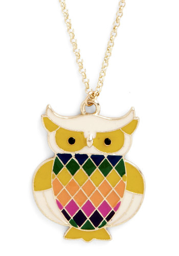 Read Owl About It Necklace - Yellow, Multi, Print with Animals, Owls, Gold, Good, Critters