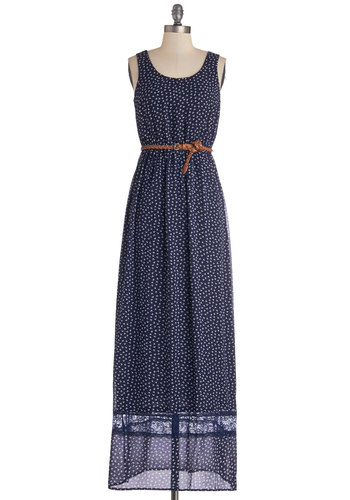 Bow it Out of the Water Dress - Blue, White, Print, Lace, Belted, Casual, Maxi, Sleeveless, Better, Scoop, Long, Chiffon, Sheer, Woven, Boho, Vintage Inspired, 70s