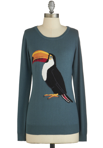 Beak Your Mind Sweater by Sugarhill Boutique - Green, Print with Animals, Safari, Long Sleeve, Better, International Designer, Green, Long Sleeve, Casual, Scoop, Knit, Mid-length, Bird, Woodland Creature