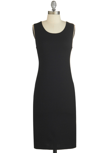 Bridge Bash Dress - Black, Solid, Cutout, Party, LBD, Shift, Tank top (2 thick straps), Good, Scoop, Sheer, Knit, Long
