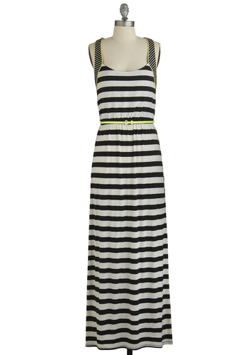 Social Networker Dress - Black, White, Stripes, Backless, Trim, Belted, Casual, Beach/Resort, Maxi, Sleeveless, Good, Scoop, Neon, Knit, Long, Summer