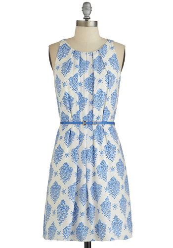 Fresh Spring Rain Dress in Blue - Blue, Print, Belted, A-line, Sleeveless, Good, Scoop, Pleats, Graduation, Woven, Mid-length, White, Daytime Party