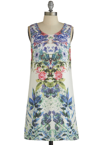 Catch My Shift Dress - Mid-length, Multi, Floral, Casual, Shift, Sleeveless, Good, Scoop, Chiffon, Woven