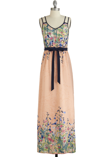 Wildflower Garden Dress - Multi, Floral, Belted, Daytime Party, Maxi, Spaghetti Straps, Good, V Neck, Long, Coral