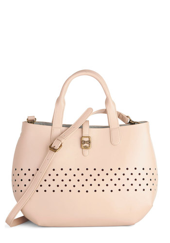 Just a Perf Day Bag by Nica - Solid, Cutout, Best, Work, Tan, Travel, Faux Leather