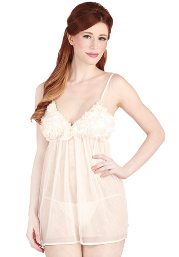 Pleasant Evening Nightgown and Undies Set - Sheer, Satin, Woven, White, Solid, Bows, Ruffles, Bride, Boudoir, Spaghetti Straps